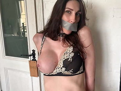 Hot milf tied up and ordered close by cum