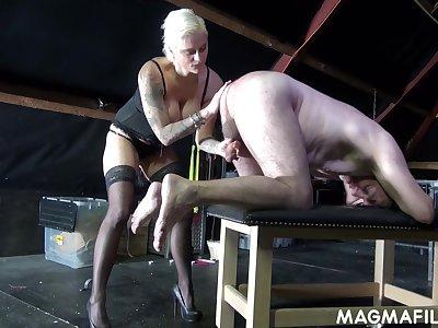 Fetish Mistress Mila Milan takes control of her weak boss