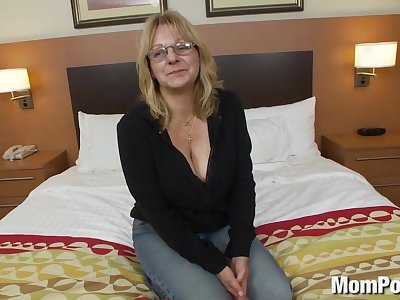 Slutty big tit old lady's first porn