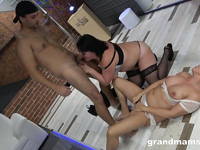 Chubby wives share a young cock for a wild innings