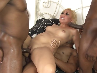 Beauteous whore anal fucked wide of two black males with monster dicks