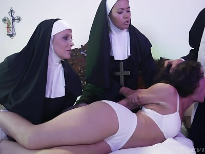 Horny Victoria Voxxx needs two nuns and a priest to exorcise burnish apply demon out of her cunt