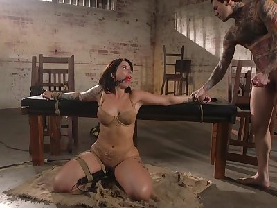 Brim-full milf Ivy Lebelle is face fucked before a rough anal sexual congress