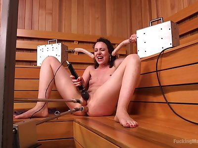Solo fucking machine cam sex in the sauna