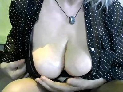 Ancient grand mature with big boobs masturbate on the rocking-chair