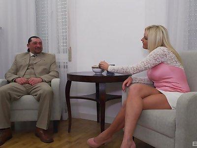 Mature blonde wife around fake tits rides a fat dick - Krisztina Szigeti
