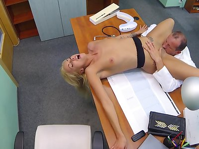 Hot peaches licked and fucked by older doctor with huge dick
