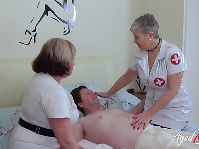 BBW nurses in the deep-freeze their patient with his sexual needs