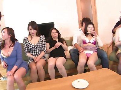 Japanese MILF gang tatting lineup and CFNM handjobs