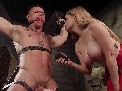 Sexy Mistress Aiden Starr reminds the brush male sub who's the boss