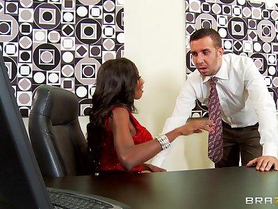 Ebony pornstar Diamond Jackson spreads their way legs for a white learn of