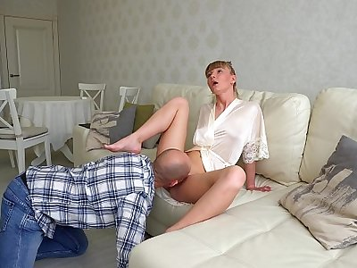 I worship, cuddle the foots of my Mistress, lick pussy with the addition of swallow her squirt