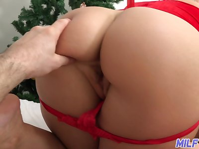 Shafting hot woman in sexy santa costume Ryan Keely gives a footjob coupled with blowjob