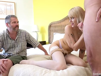 Freaky cuckold eats cum from his lady's pussy, this blonde named Maxim Work is ergo naff