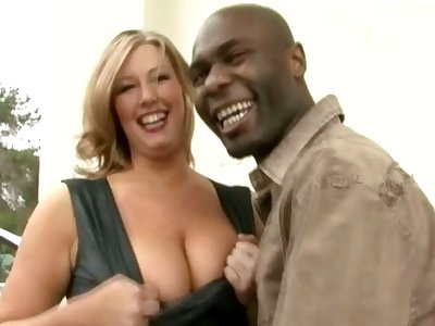 Big racked MILFie lady lets black stud eat will not hear of sloppy pussy well
