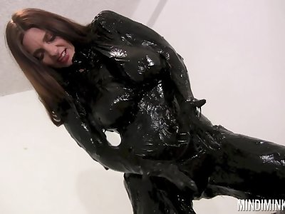 Wondrous nicely shaped nympho Mindi Mink is ready to wear latex stuff