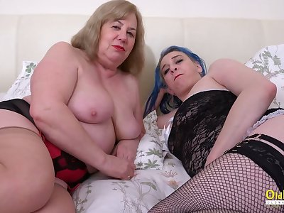 OldNannY Busty Mature Lesbians Using Copulation Toys