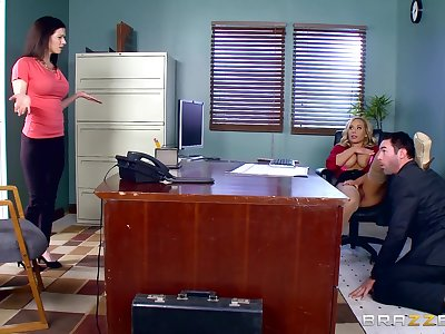 Stacked tow-headed Olivia Austin gets fucked hardcore at work