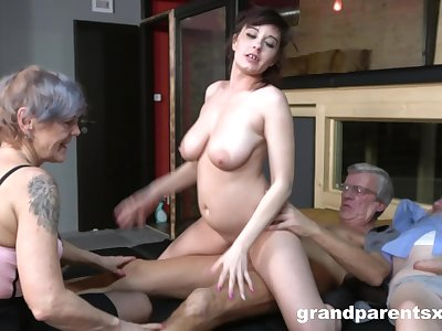 Nude matures fucked wits a pair of old men in intense foursome