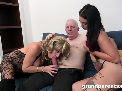 Grandpa fucks his niece increased by his spliced in a glorious amateur threesome