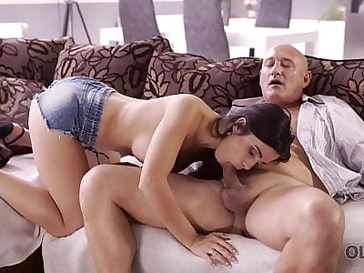OLD4K. Naughty brunette tempts old person into drilling her butthole