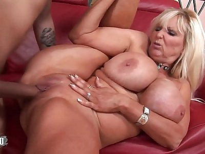 Busty full-grown babe banged by a vaillant fucker